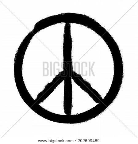 Peace symbol, Hand drawn brush, vector illustration