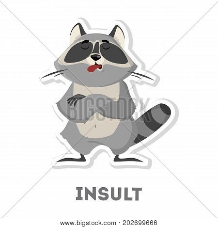 Isolated insulted raccoon on white background. Funny cartoon animal.