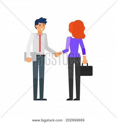 Vector flat style illustration of happy businessman and businesswoman characters. Business partners shaking hands. Isolated on white background.