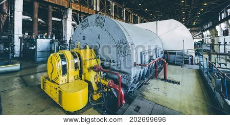 steam turbine at power plant factory energy heat
