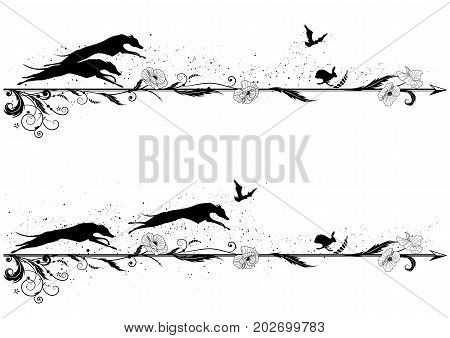 set of vector dividers with dogs rabbit riven and poppy in black and white
