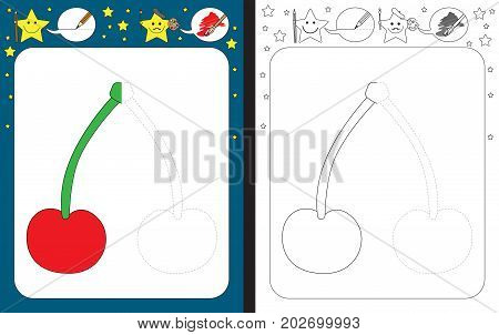 Preschool worksheet for practicing fine motor skills - tracing dashed lines - finish the illustration