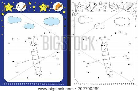 Preschool worksheet for practicing fine motor skills and recognizing numbers - connecting dots by numbers - drawing illustration of a butterfly