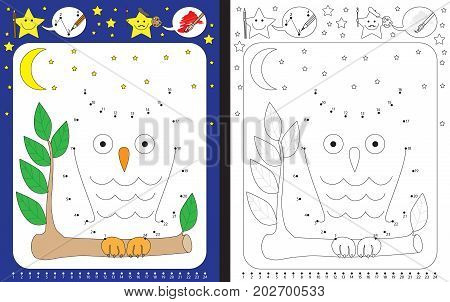 Preschool worksheet for practicing fine motor skills and recognizing numbers - connecting dots by numbers - drawingan owl