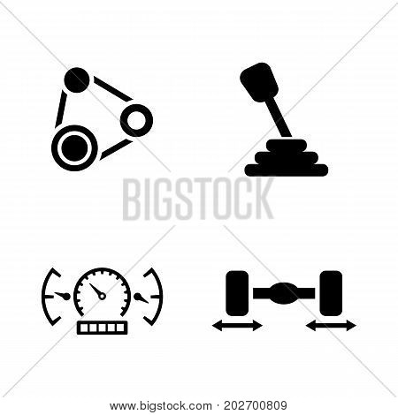 Auto Service. Simple Related Vector Icons Set for Video, Mobile Apps, Web Sites, Print Projects and Your Design. Black Flat Illustration on White Background.