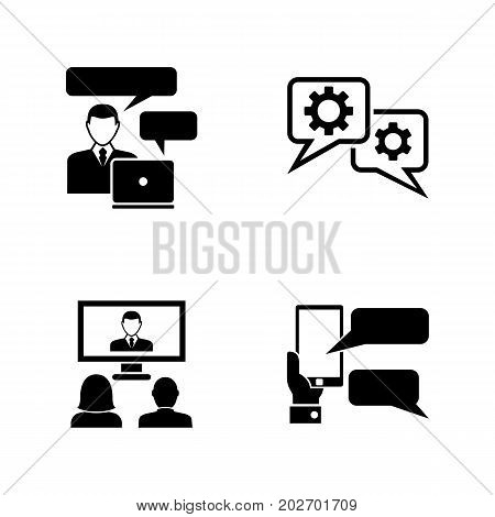 Business Consulting. Simple Related Vector Icons Set for Video, Mobile Apps, Web Sites, Print Projects and Your Design. Black Flat Illustration on White Background.