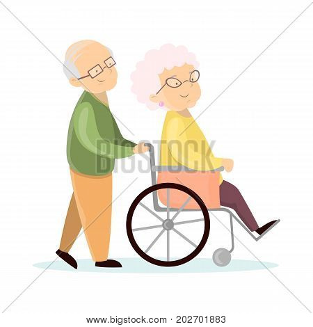Old senior couple. Husband with wife on wheelchair.