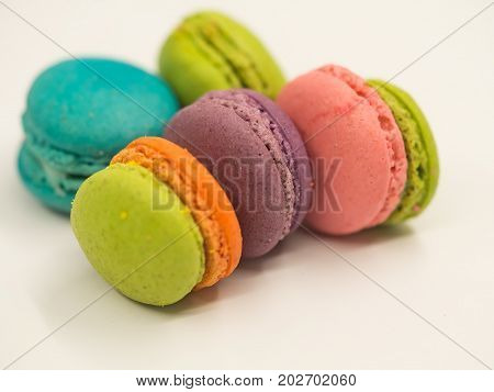 Sweet and colourful french macaroons,A french sweet delicacy, macaroons variety closeup.macaroon colourful texture.