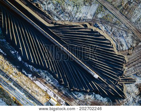 coal supplies power plant top view above aerial supply