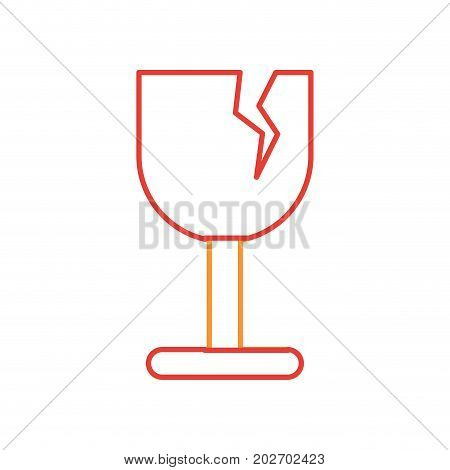 broken cup- fragile sign icon over white background vector illustration