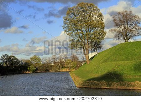 ditch in front of Copenhagen citadel Kastellet Denmark