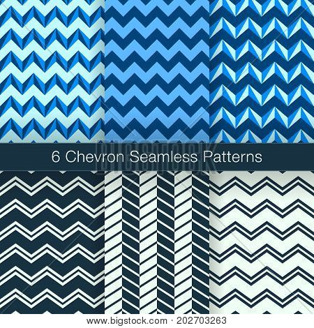 Set Of 6 Chevron Seamless Patterns. Every Pattern Is On A Separate Isolated Layer