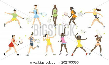 Tennis athletes moves set on white background. Big tennis.