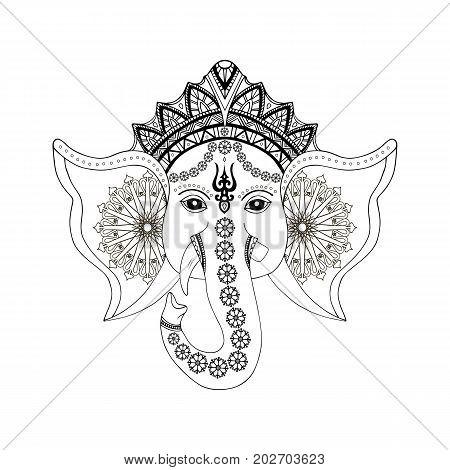 Hindu god Ganesha head. Isolated on white backgrond. Vector