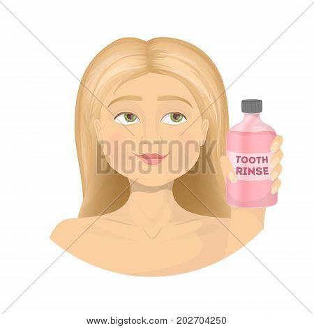 Woman with mouth rinse on white background.