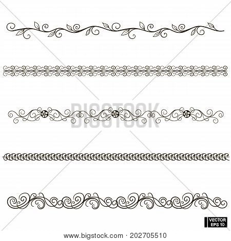 Set Of Scrolls, Floral Ornaments