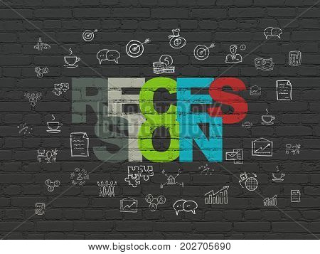 Finance concept: Painted multicolor text Recession on Black Brick wall background with  Hand Drawn Business Icons