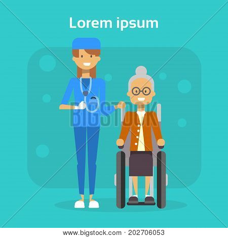 Medical Doctor With Senior Woman On Wheel Chair Happy Old Female Disabled Smiling Sit On Wheelchair Disability Concept Flat Vector Illustration