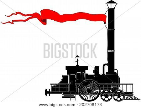 An old steam locomotive with a red banner on a long pipe