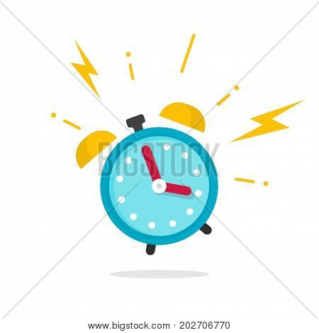 Alarm ringing icon vector illustration, flat carton alarm clock bells sound isolated on white