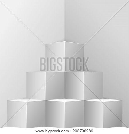 Original cube showcase in room corner. Business market exhibition or museum furniture modern design. Square abstract shape interior