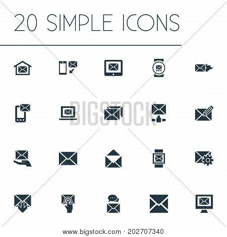 Elements Make Up, Letter, Sent And Other Synonyms Compose, Communication And Tuning.  Vector Illustration Set Of Simple Communication Icons.