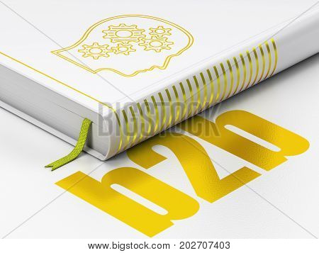 Finance concept: closed book with Gold Head With Gears icon and text B2b on floor, white background, 3D rendering