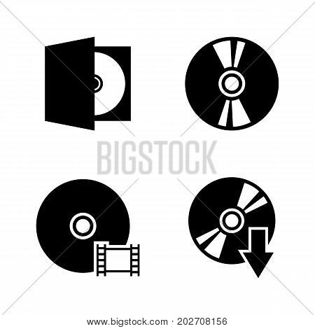 Compact disk. Simple Related Vector Icons Set for Video, Mobile Apps, Web Sites, Print Projects and Your Design. Black Flat Illustration on White Background.