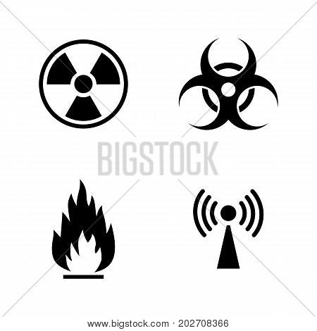 Danger. Simple Related Vector Icons Set for Video, Mobile Apps, Web Sites, Print Projects and Your Design. Black Flat Illustration on White Background.