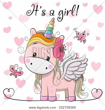 Baby Shower Greeting Card with cute Cartoon Unicorn girl