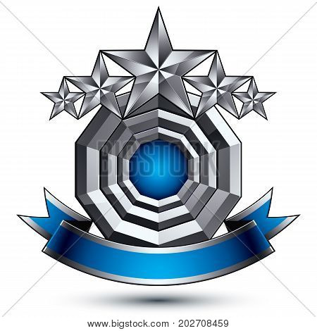 Glamorous vector template with pentagonal silver stars symbol best for use in web and graphic design. Conceptual heraldic icon with wonderful smooth strip clear eps8 vector.