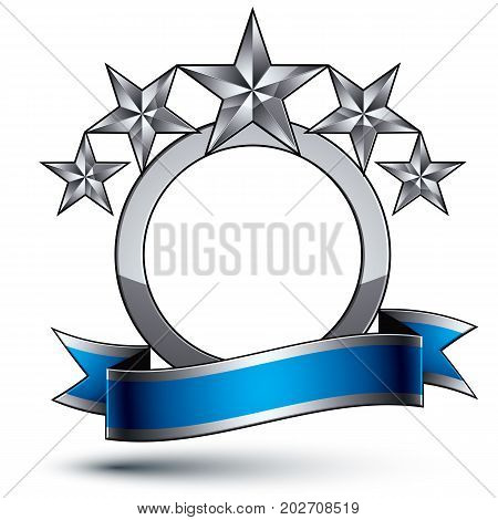 Vector glorious glossy design element luxury 3d pentagonal silver stars conceptual complicated graphic template with festive strip clear EPS 8 decorative medallion.
