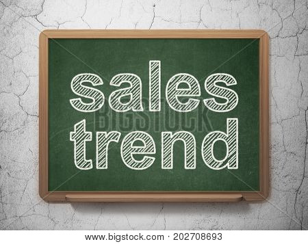 Advertising concept: text Sales Trend on Green chalkboard on grunge wall background, 3D rendering