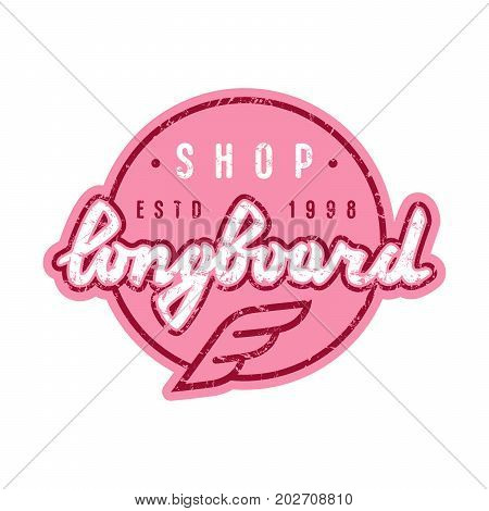 Round Emblem With Lettering For Longboard Shop