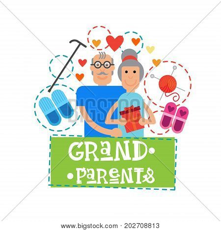 Grandparents Couple Together Happy Grandmother And Grandfather Day Greeting Card Banner Vector Illustration
