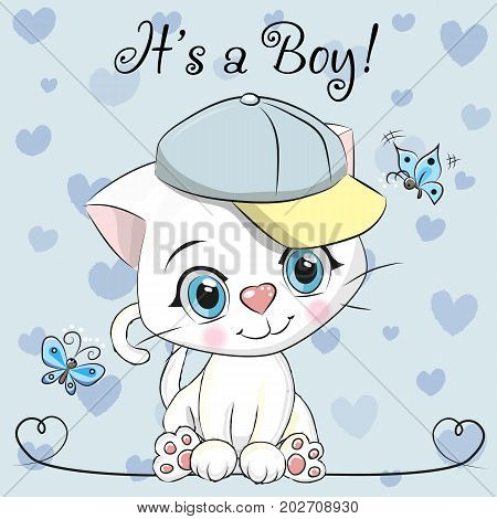 Baby Shower Greeting Card with cute Cartoon White kitten boy