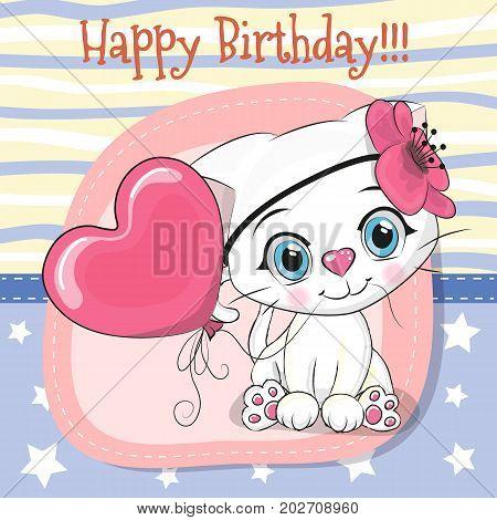 Greeting card Cute Cartoon white kitten with balloon