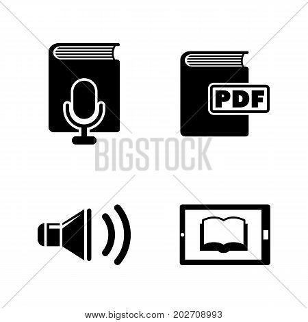 E-book. Simple Related Vector Icons Set for Video, Mobile Apps, Web Sites, Print Projects and Your Design. Black Flat Illustration on White Background.