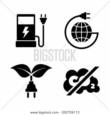 Eco fuel. Simple Related Vector Icons Set for Video, Mobile Apps, Web Sites, Print Projects and Your Design. Black Flat Illustration on White Background.