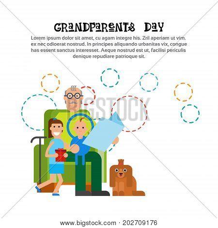 Grandfather Reeding To Grandchildren Happy Grandparents Day Greeting Card Banner Vector Illustration