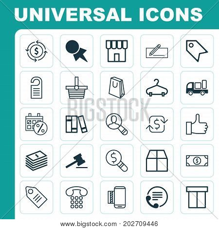E-Commerce Icons Set. Collection Of Price Stamp, Spectator, Mobile Service And Other Elements