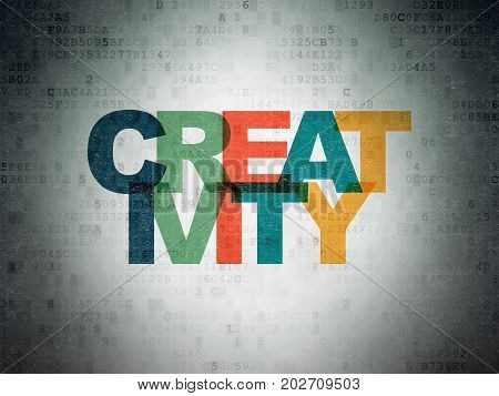 Advertising concept: Painted multicolor text Creativity on Digital Data Paper background