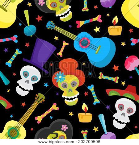 Seamless pattern with colorful skulls for day of the dead or halloween. Sugar skuuls for mexican day of the dead. Cute skulls and flowers in a cartoon style.