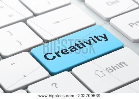 Marketing concept: computer keyboard with word Creativity, selected focus on enter button background, 3D rendering