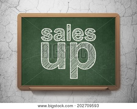 Advertising concept: text Sales Up on Green chalkboard on grunge wall background, 3D rendering