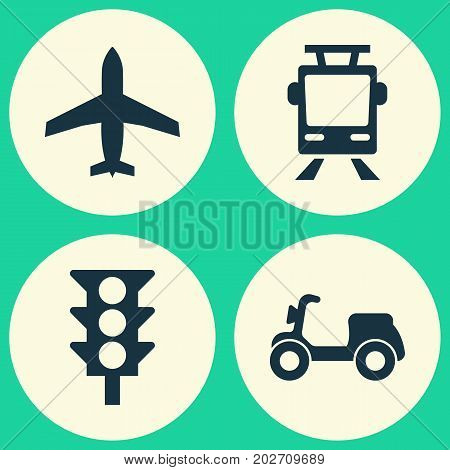 Transportation Icons Set. Collection Of Aircraft, Skooter, Streetcar And Other Elements