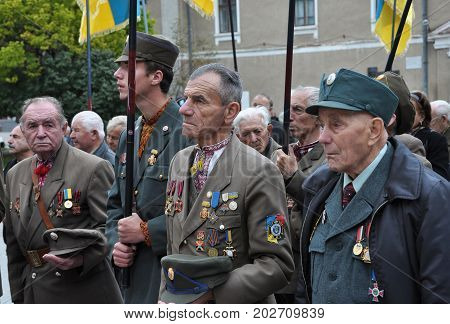 BEREZHANY - Ukraine - October 14 2012. Participants of Ukraine liberation struggle against the Nazi invaders and occupiers in Moscow celebrating the 70th anniversary of the Ukrainian Insurgent Army