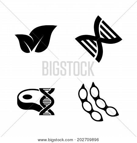 Gmo. Simple Related Vector Icons Set for Video, Mobile Apps, Web Sites, Print Projects and Your Design. Black Flat Illustration on White Background.