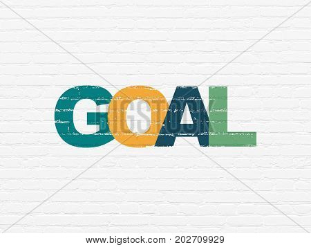 Marketing concept: Painted multicolor text Goal on White Brick wall background