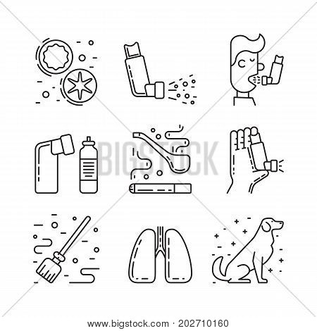 Vector icons on the theme of asthma isolated on white background in outline style. Medical illustration of the topic of asthma, icons of the person with asthma and asthmatic cough stimuli